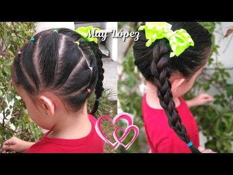 Hermoso Peinado Para Ninas Con Ligas Para La Escuela Peinados