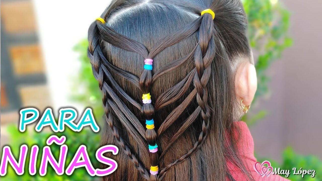 Peinado para NIÑAS con ligas de colores y trenzas faciles | May López