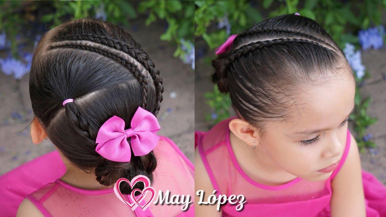 Peinado recogido con trenzas y chongo elegante para niñas y adolescentes