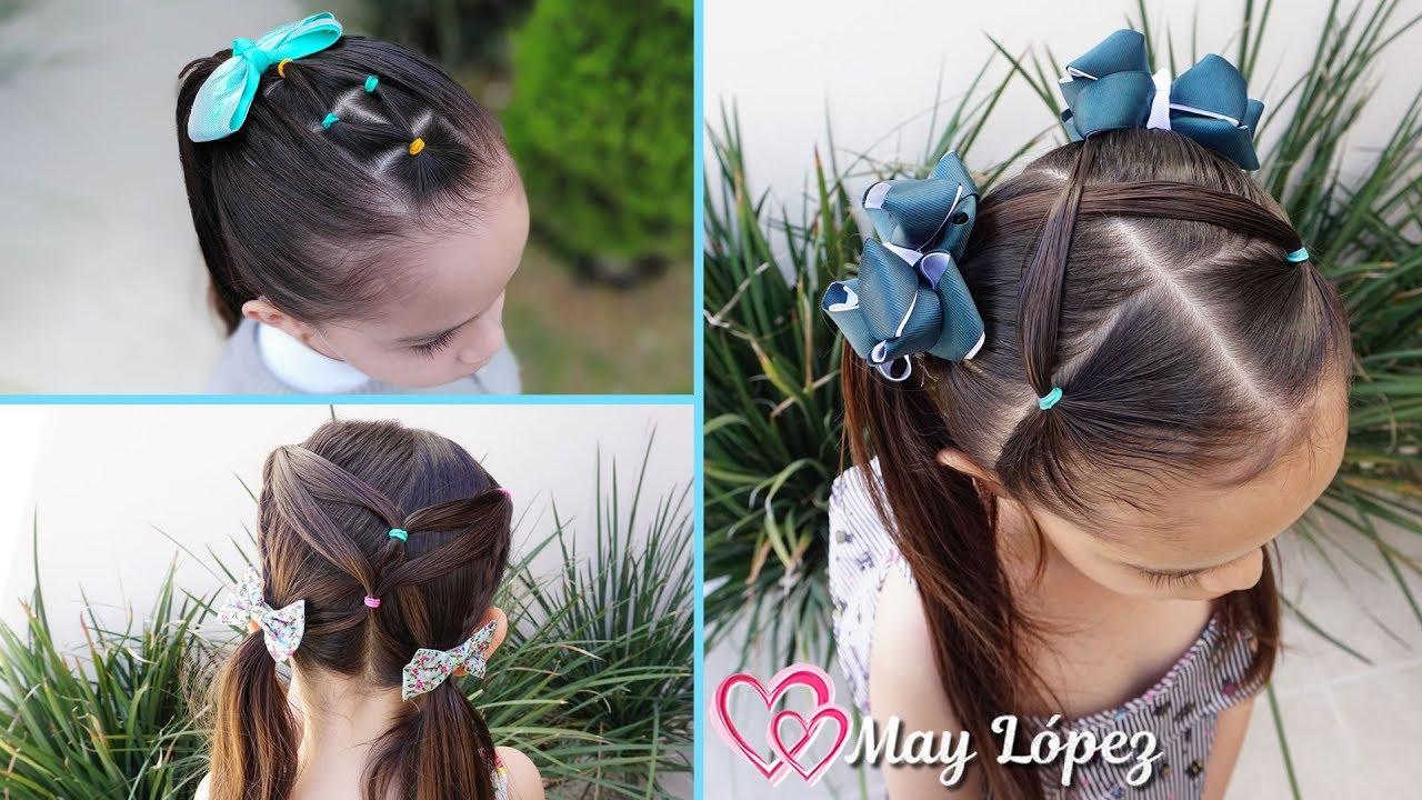 3 peinados para niñas faciles para la escuela| May López