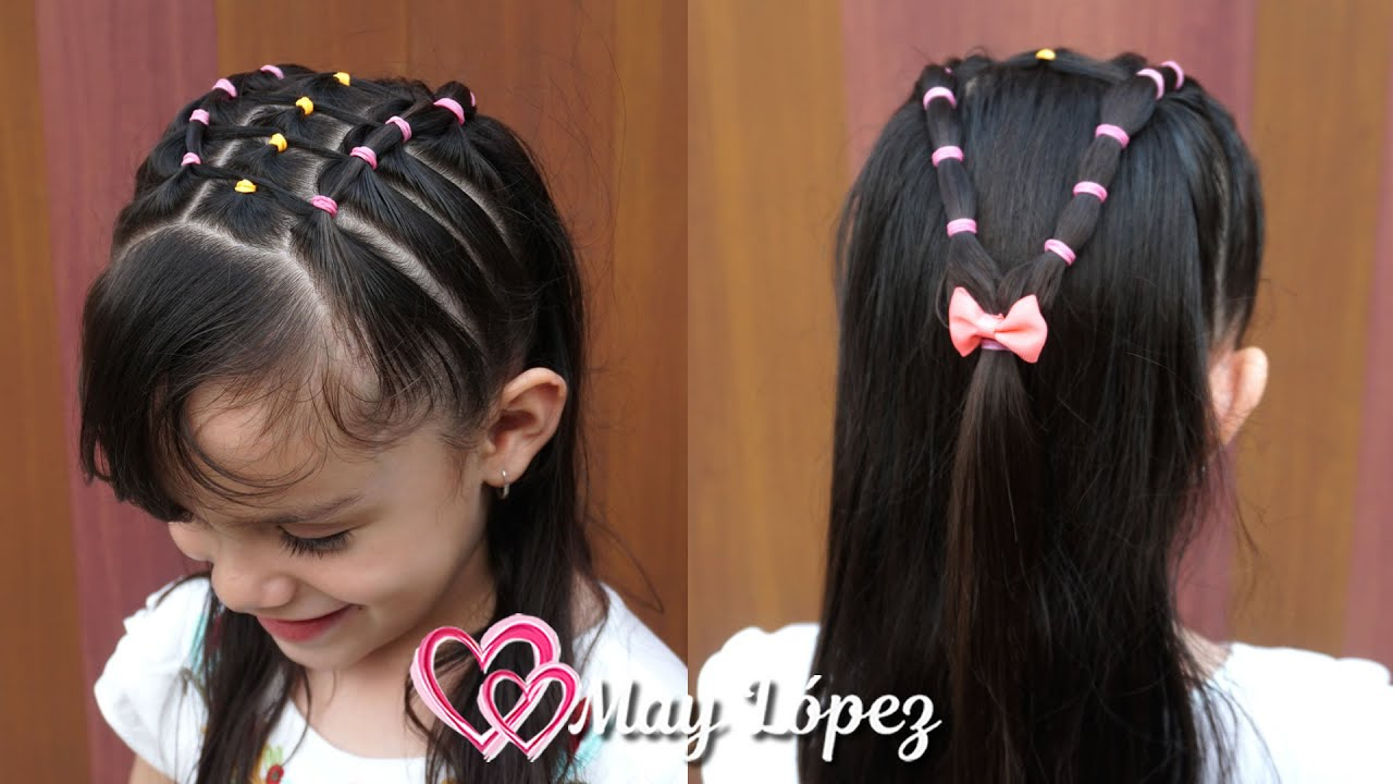 Hermoso Peinado con ligas de colores y pelo suelto para Niñas 2020