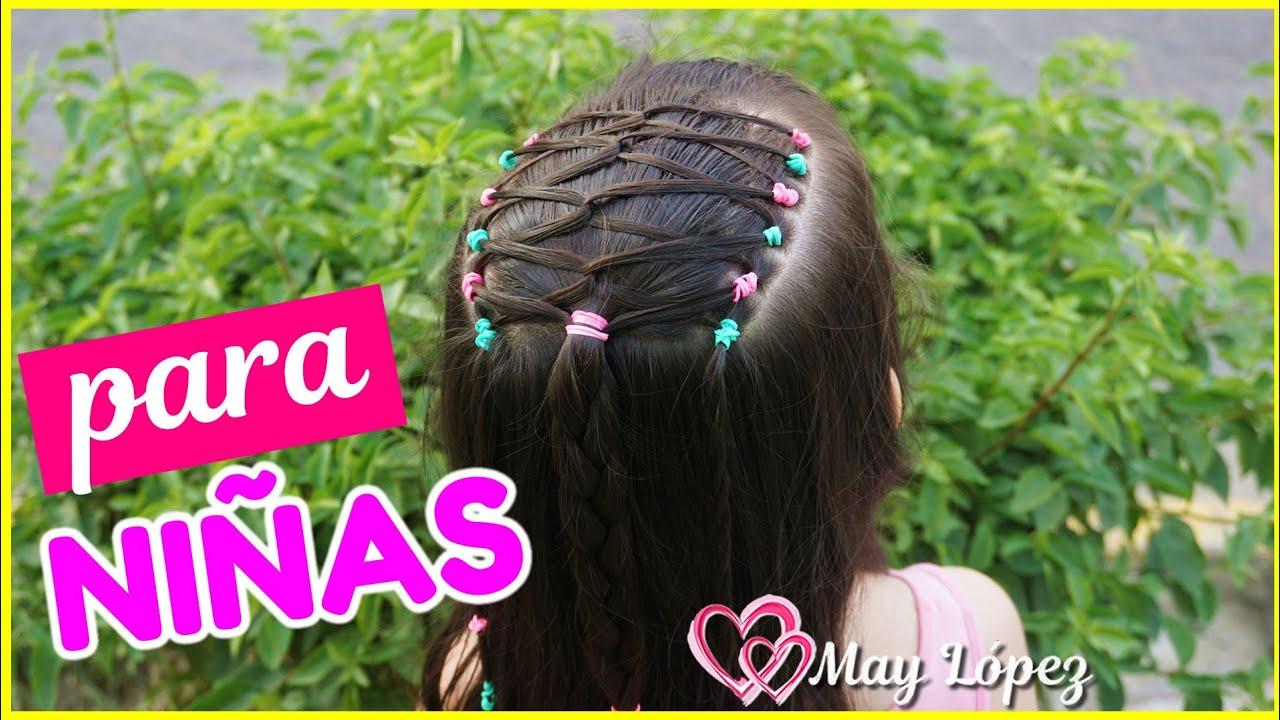 Hermoso peinado con ligas y trenzas para niñas