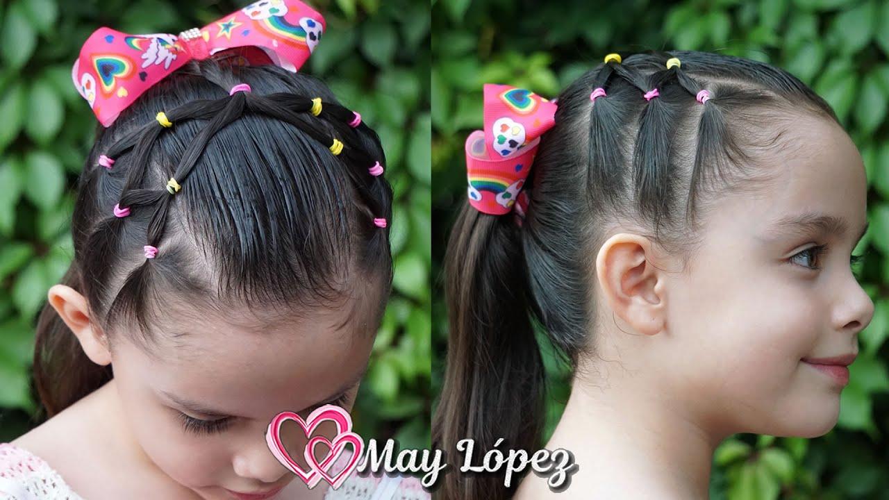 Coleta con Ligas de Colores para Niñas | May López