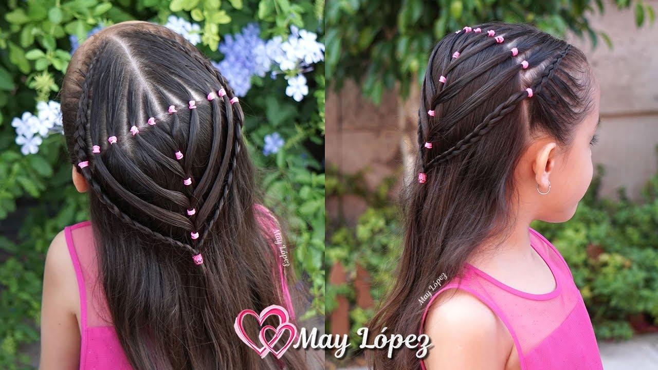 Peinado Elegante con Ligas Trenzas y Pelo suelto para Niñas